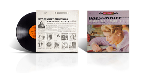 lp: Rishon LeZion, Israel-August 4, 2016: Old used vinyl album Ray Conniff And his Orchestra and Chorus-Memories are made of this. The LP was printed in Mexico