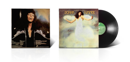trilogy: Rishon LeZion, Israel-August 31, 2016: Old vinyl stereo album A Love Trilogy Donna Summer. Manufactured by HaTaklit Ltd Haifa Israel in 1976. Covers and vinyl disc are shooted on white background Editorial