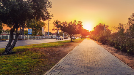 Rishon LeZion, Israel-October 21, 2016: Dawn floods concrete paved stone sidewalk with beautiful sunlight located at Moshe Dayan Boulevard. In the left side there are cars moving on asphalt road