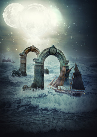 The sick man's deformed imagination calls strange pictures in his mind. He identifies himself with a sails ship in the alien planet. He sails across the stormy ocean under twin moon sky to destination of his life which he cannot determine clearly in the remote distance, but he has to pass through challenge of two ancient arches to reach the goal