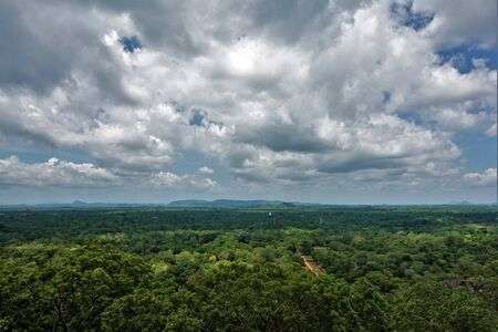 Amazing panorama from the top of Mount Sigiriya, Sri Lanka. The endless valley is covered with dense green jungle, on the horizon are silhouettes of mountains. Beautiful blue sky with picturesque clouds.