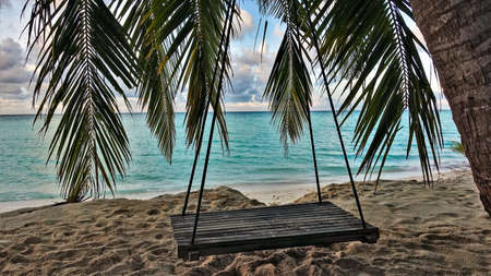 Holidays in the Maldives. The swing is suspended from a palm tree on the beach. Through the leaves you can see the aquamarine ocean, the sky with picturesque clouds. There are footprints in the sand.