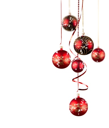 christmas ornaments: Bright red Christmas tree balls with curly ribbons isolated on the white background  Stock Photo
