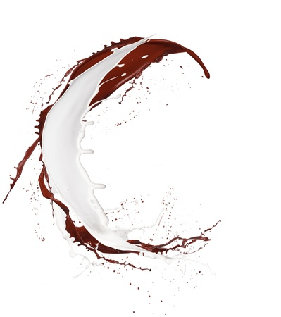 letter c: Chocolate and milk splash letter C isolated on white background Stock Photo