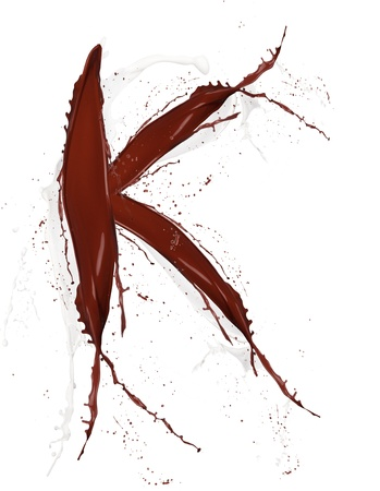 Chocolate and milk splash letter  K  isolated on white background photo