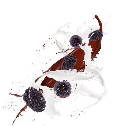 Fresh blackberry in chocolate and mill splash over white background  photo