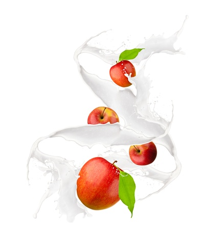 Apple in milk splash, isolated on white background  Stock Photo