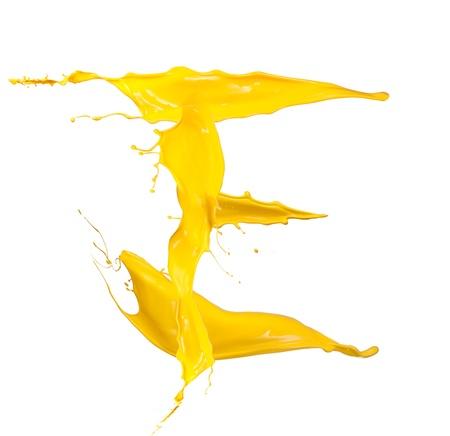 e liquid: Yellow Liquid alphabet letter E Stock Photo