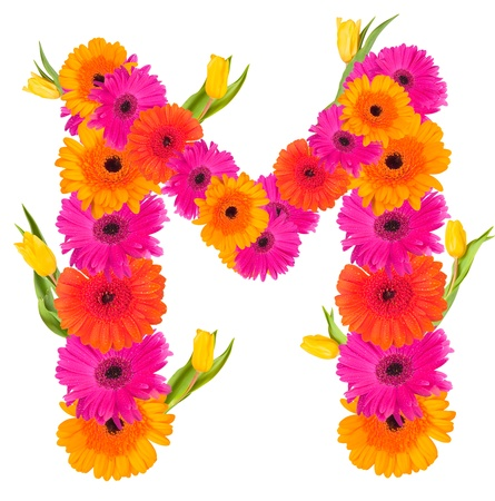 M flower alphabet isolated on white  photo
