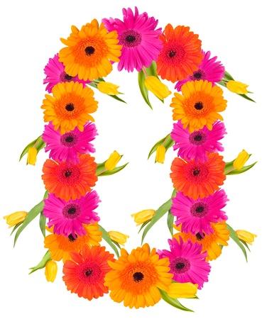 0, flower alphabet isolated on white  Stockfoto