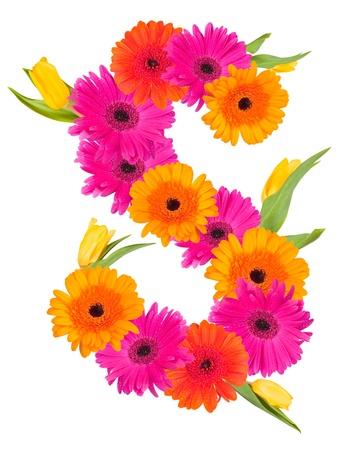 S bloem alfabet op wit wordt geïsoleerd Stockfoto