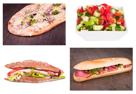 Fresh baguette and salad, pizza collection  photo