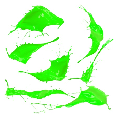 Green paint splashes collection on white background  Stock Photo