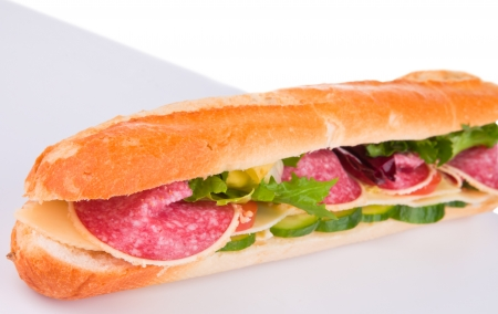 Fresh baguette with abstract background  photo