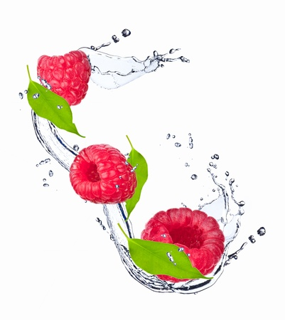 Water splash with raspberry Stock Photo - 19932609