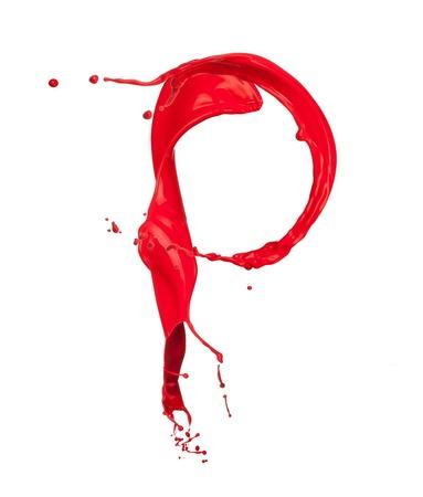letter p: Red Liquid alphabet letter P