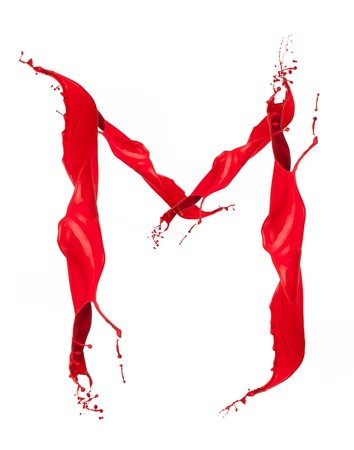 Red Liquid alphabet letter M photo
