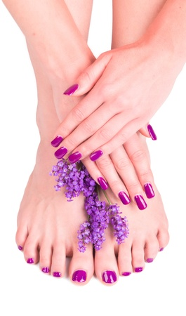 Beautiful woman Hands and sole with flower . Manicure concept