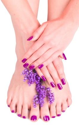 Mooie vrouw Handen en zool met bloem. Concept van de manicure