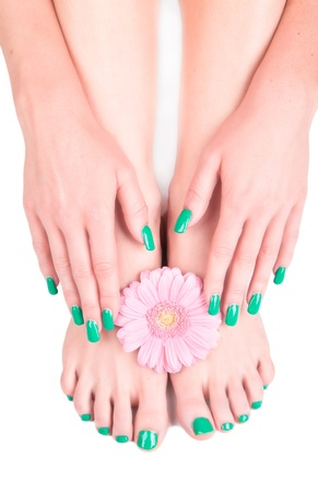 geen: Beautiful woman Hands and sole with flower