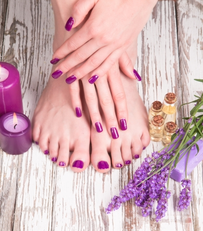 foot spa: Beautiful woman Hands and sole  Manicure concep  Stock Photo