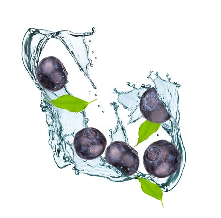 Water splash with blueberry and leaf