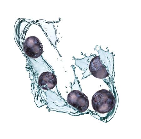 Water splash with blueberry