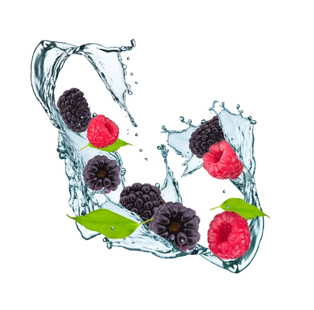 Water splash with blackberry, raspberry and leaf