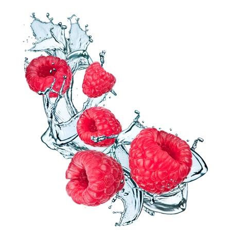 Water splash with raspberry