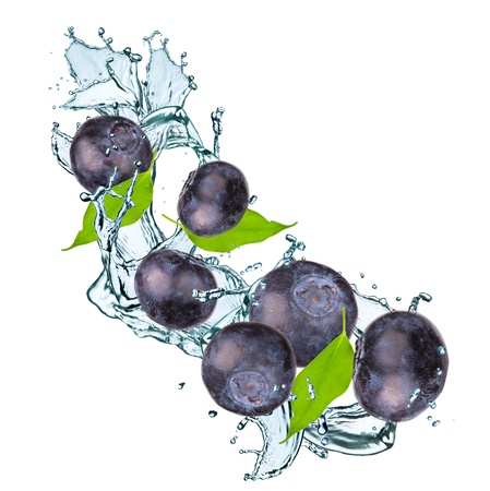 Blueberries and leaf with splash isolated on white Stock Photo