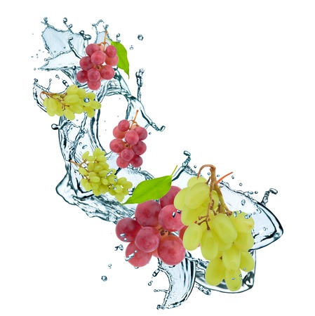 fresh grape and leaf in water splash photo