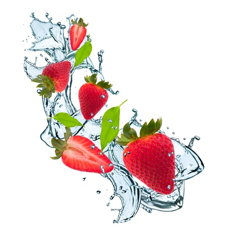 fresh strawberry in water splash photo
