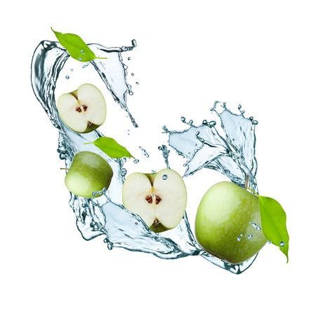fresh apple and leaf in water splash photo