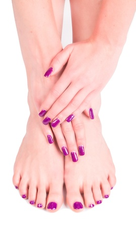 concep: Beautiful woman Hands and sole. Manicure concep  Stock Photo