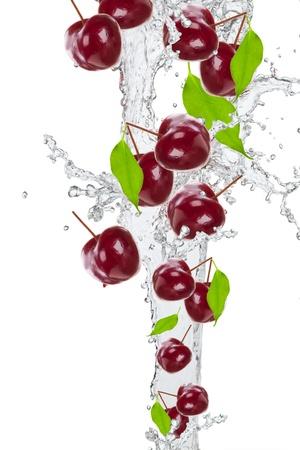 Fresh cherry in water splash  Stock Photo