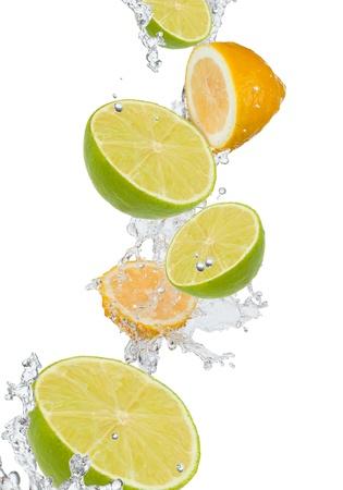fresh lime in water splash  Stock Photo