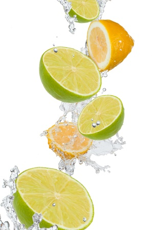 fresh lime in water splash  Stock Photo