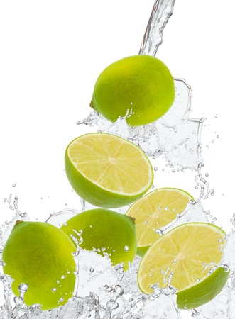 fresh lime in water splash  photo