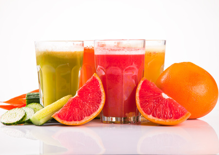 Fresh fruits, vegetables and juice  photo