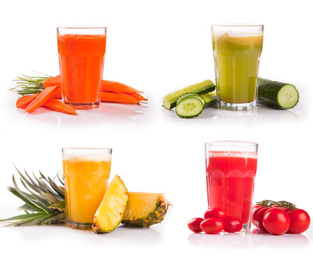 juice collection, carrot, cucumber,tomato, pineapple photo