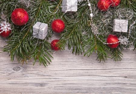Christmas decoration on wood, christmas background Standard-Bild
