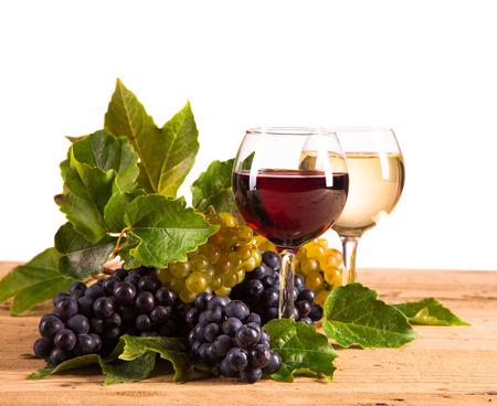 wine on wood isolated Stock Photo