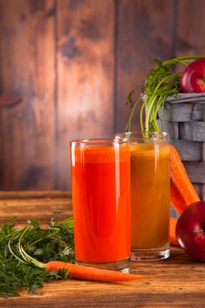 fresh juice on wood photo