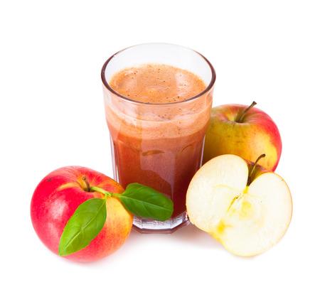 ewer: Apple juice isolated on white background Stock Photo