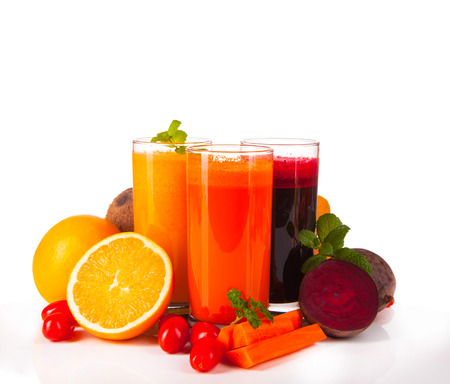 fresh juice isolated on white background photo