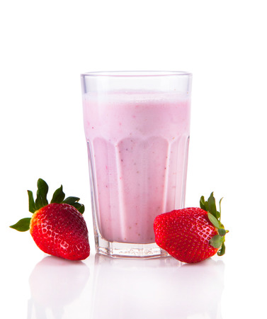 Fresh milk, strawberry drink isolated on white background, assorted protein cocktail with fruits