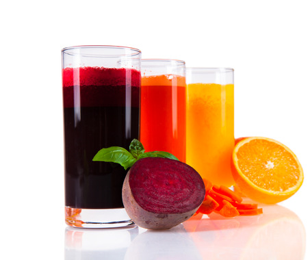 basic food: Beetroot, orange and carrot juice isolated on white background  Healthy drinks with fresh fruits  Stock Photo
