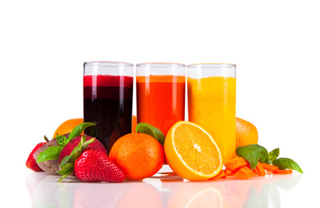 Beetroot, orange and carrot juice isolated on white background  Healthy drinks with fresh fruits  Stock Photo