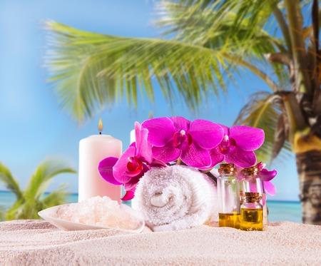 Spa concept met tropische strand, ontspannen exotische Stockfoto
