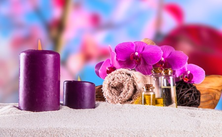 oriental massage: spa concept with nature background Stock Photo